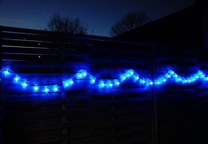 Vánoční LED osvětlení - hvězdy modré 4 m