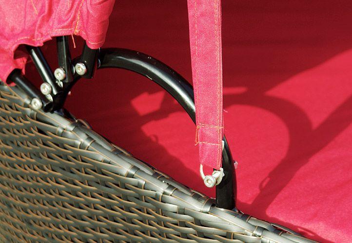 Exkluzivní polyratanové lehátko Garth - červené