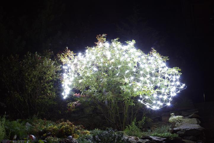 Světelný závěs s LED diodami – 3x3m, 128 LED, studená bílá