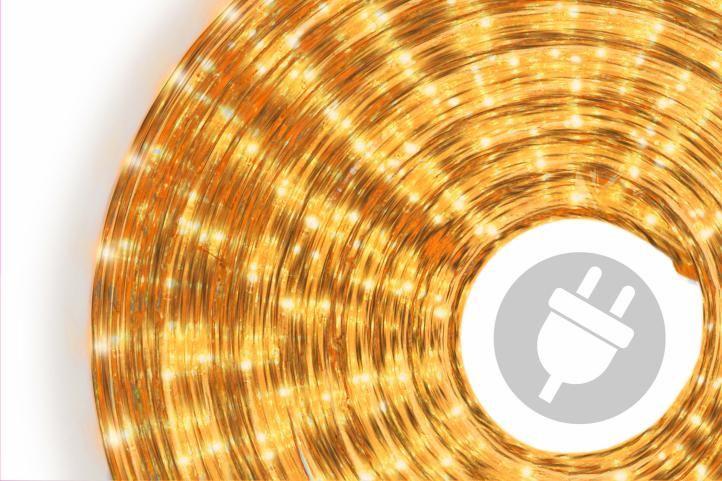 Světelný kabel – 360 minižárovek, 10 m, žlutý