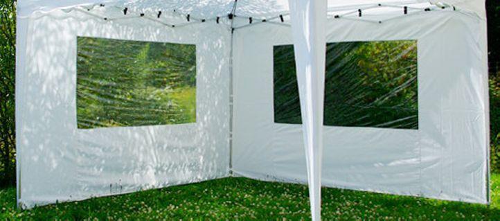 Sada 2 bočních stěn pro zahradní skládací altán 3 x 3 m - bílá