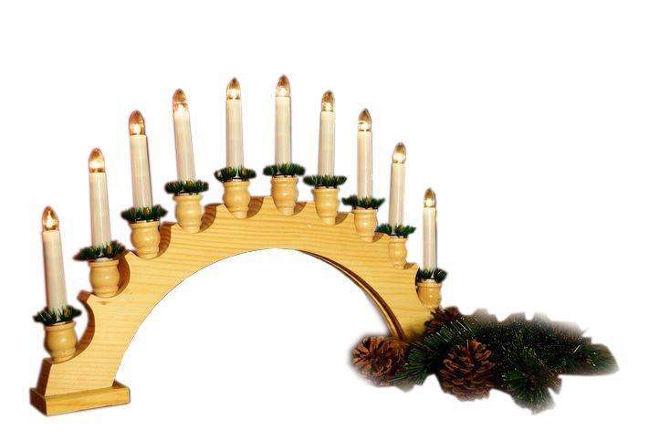 Vánoční dekorace - dřevěný svícen - oblouk 46 cm