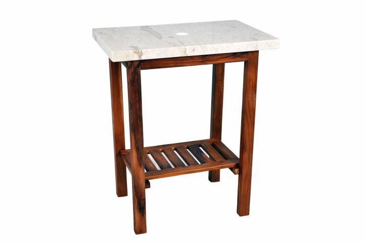 DIVERO 11766 Koupelnový stolek pod umyvadlo - teakové dřevo + mramorová deska bílá