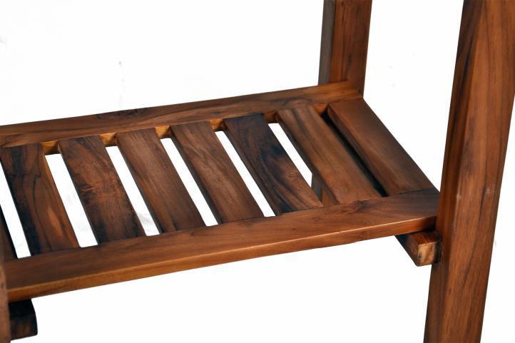 Koupelnový stolek pod umyvadlo DIVERO - teakové dřevo + mramorová deska bílá