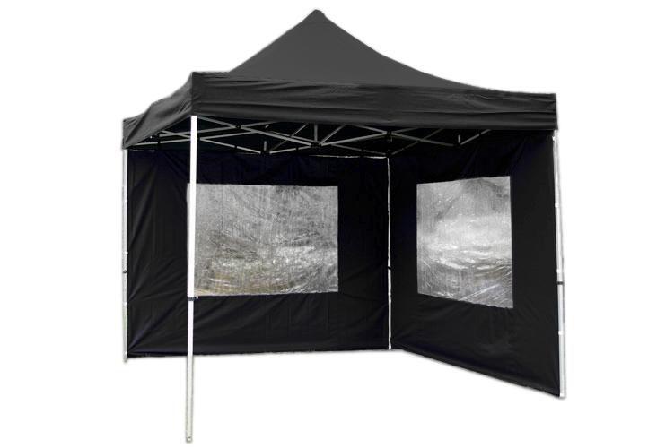 Garthen 1208 Zahradní párty stan nůžkový PROFI 3x3 m černý + 2 boční stěny