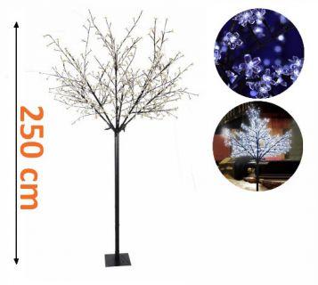 Vánočná dekorace - strom s kvítky - 250 cm, studená bílá