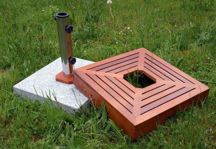 Stojan na slunečník - žula/nerezová ocel/dřevěné obložení, 40 kg