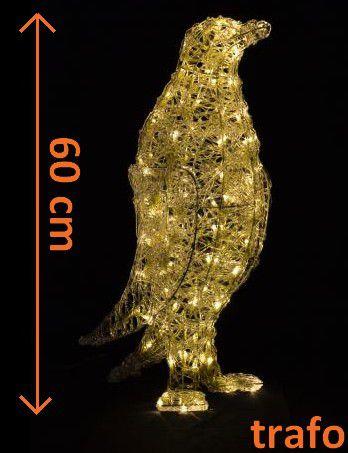 Vánoční dekorace - Akrylový tučňák - teple bílá 60 cm