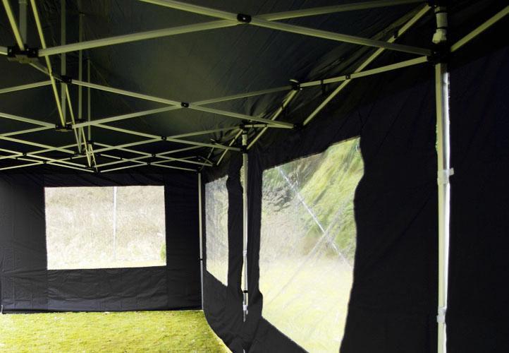 Zahradní párty stan černý pavilon 3 x 9 m + boční díly