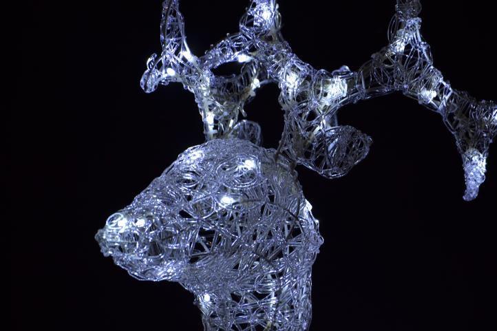 LED dekorace - vánoční sob - 100cm bílé světlo