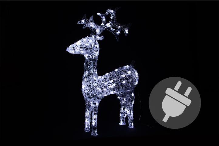 Světelná dekorace vánoční sob - 100 cm, studeně bílý