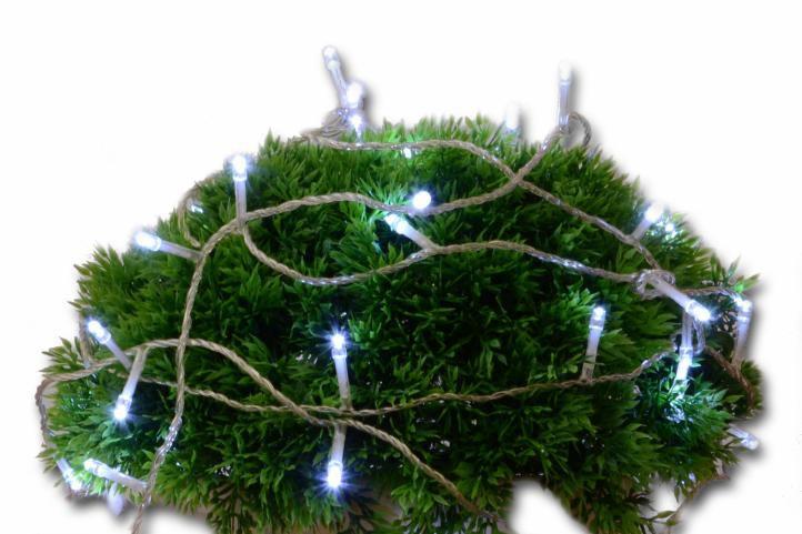 Vánoční LED osvětlení 10 m s časovým spínačem - studeně bílé, 100 diod