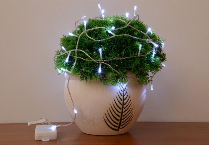 Vánoční LED řetěz - 5 m, 50 diod, studeně bílý