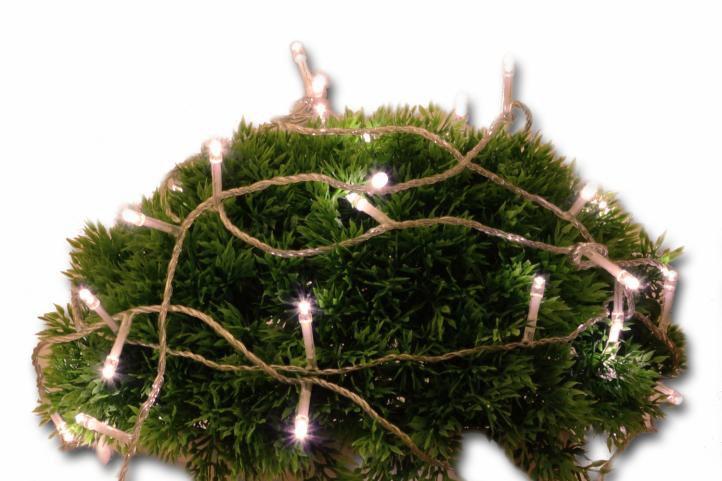 Vánoční LED osvětlení 5 m s časovým spínačem - teple bílé, 50 diod