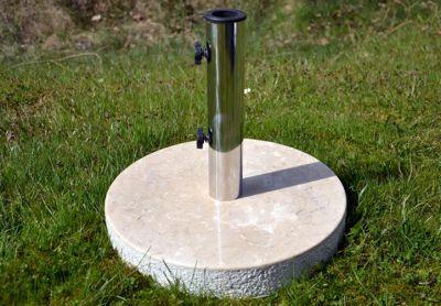 Stojan na slunečník z mramoru a ušlechtilé oceli, kulatý, 20 kg