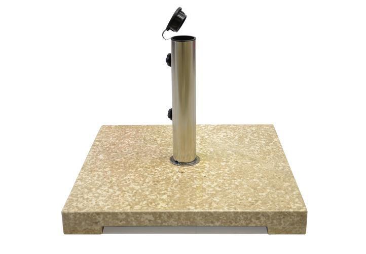 Garthen 2163 Stojan na slunečník z mramoru a ušlechtilé oceli, čtvercový, 25 kg