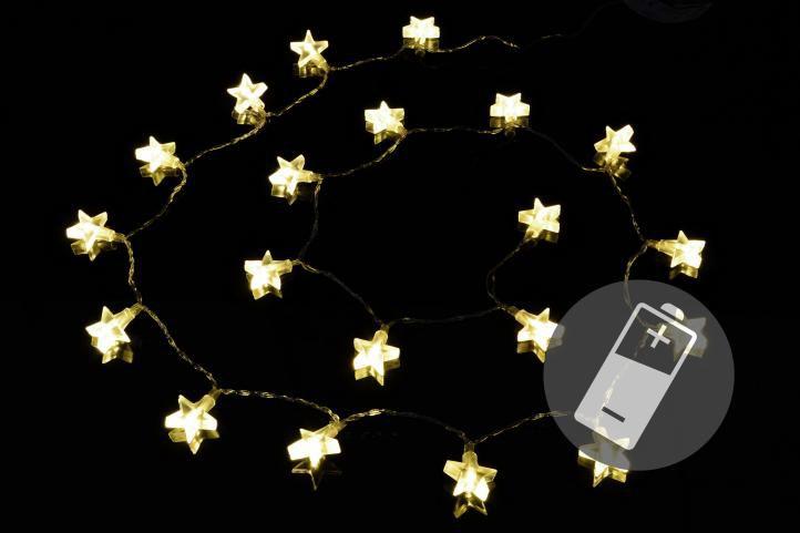 Vánoční světelný řetěz – hvězdy, teple bílý