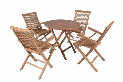 Divero zahradní skládací nábytek z týkového dřeva