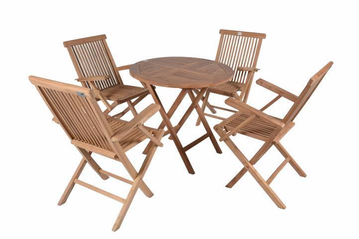 DIVERO zahradní venkovní nábytek z týkového dřeva s opěrkami Garth