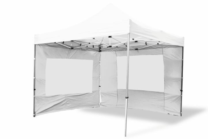 Garthen 2485 Zahradní párty stan nůžkový 3x3 m, bílý + 4 boční stěny