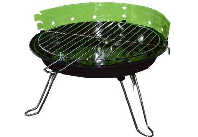 Mini párty BBQ stolní kulatý gril zelený