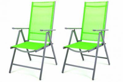 Sada 2 hliníkových skládacích židlí Garth - zelená