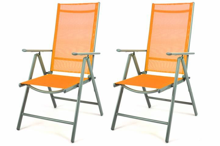 Zahradní sada 2 skládací polohovatelné židle - oranžová