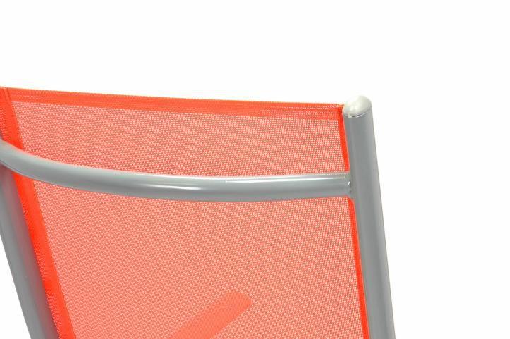 Zahradní sada 4 skládací polohovatelné židle - oranžová