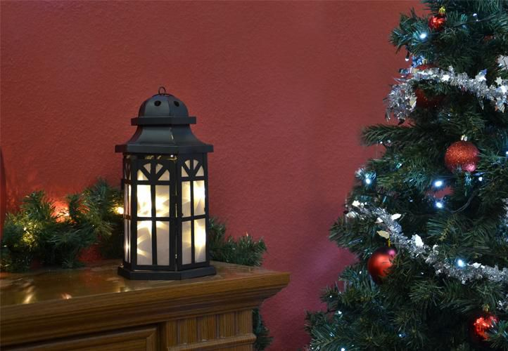 Vánoční dekorace - holografická 3D lucerna - 30 cm, 8 LED diod