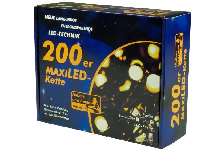 Vánoční LED osvětlení - 20 m, 200 MAXI LED, teple bílé
