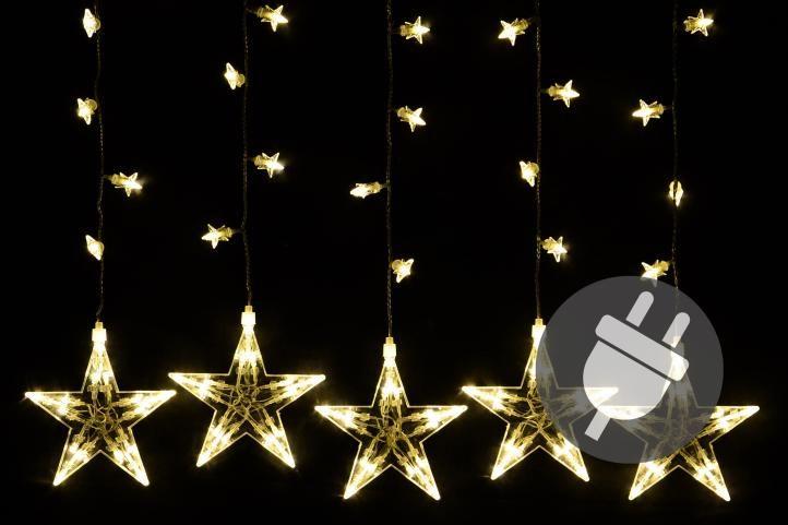 Vánoční dekorace - svítící hvězdy, 100 LED, teple bílé