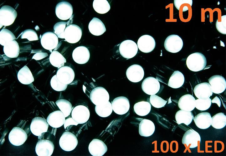 Vánoční LED osvětlení 10 m - studená bílá, 100 MAXI LED diod