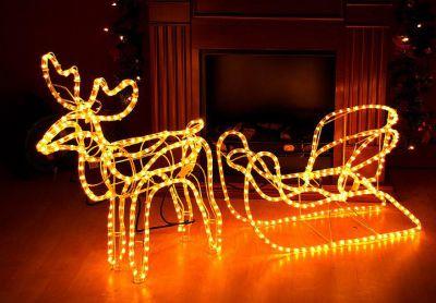 Svítící vánoční sob - LED světelná dekorace - 140 cm