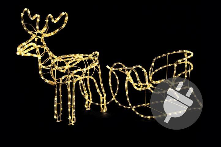 Světelná dekorace vánoční sob - 140 cm, teple bílý