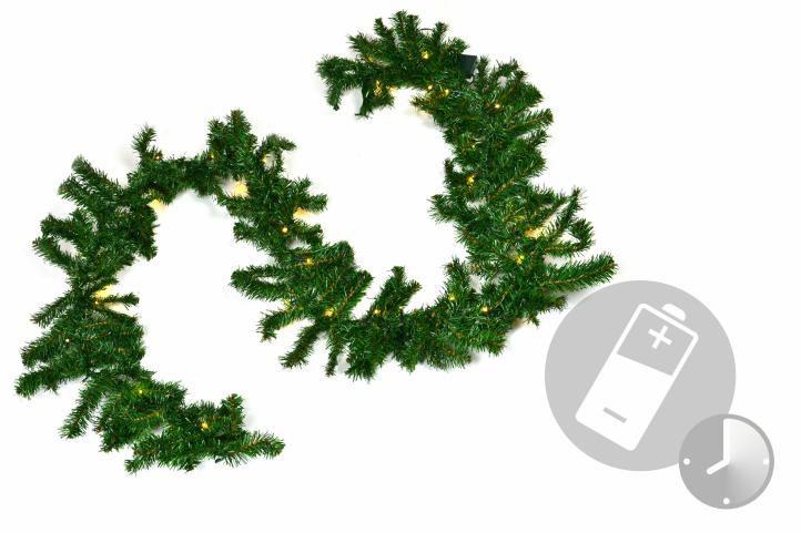 Vánoční dekorace - girlanda s osvětlením, 2,7 m, na baterie