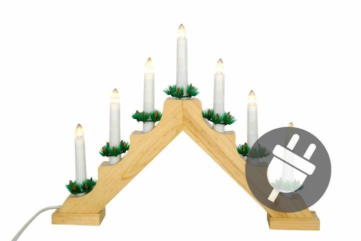 Vánoční dekorace – dřevěný svícen, 7 LED diod