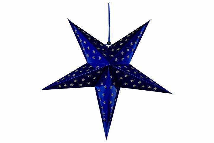 Vánoční dekorace - hvězda s časovačem 60 cm - 10 LED, modrá