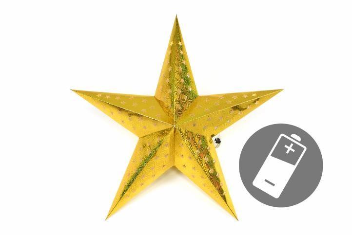 Vánoční hvězda s časovačem 60 cm, 10 LED, zlatá