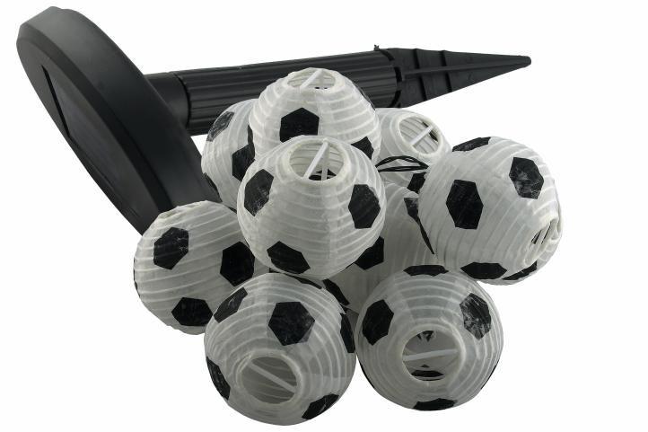 Solární zahradní párty lampion - 10 x fotbalový míč OEM D30514