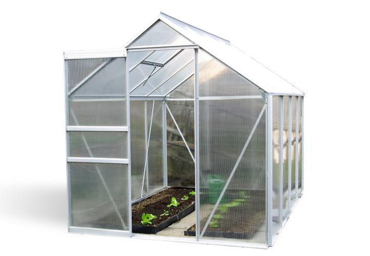 ALU skleník 250 x 190 x 195 cm - s kompletním podstavcem, bez základny