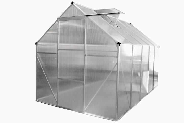 ALU skleník 250 x 190 x 195 cm - spodní rám a automatický otvírač oken