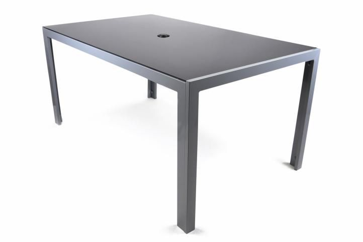 Zahradní hliníkový stůl se skleněnou deskou, 150 cm černý