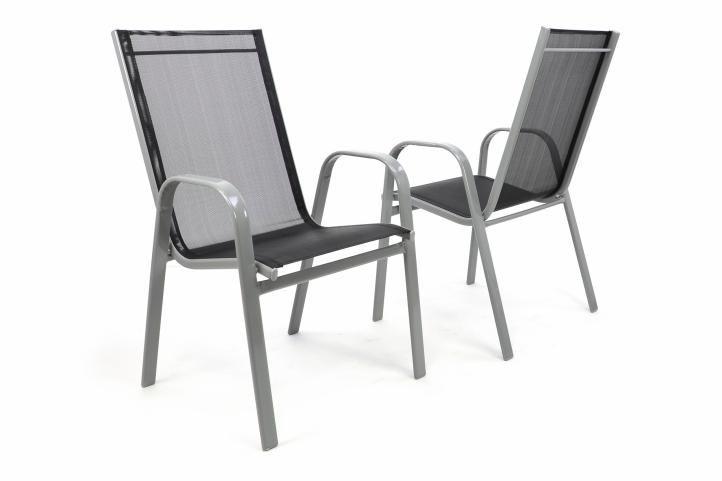 Set 2 ks zahradní stohovatelná židle - antracit