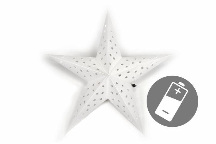 Vánoční hvězda s časovačem 60 cm, 10 LED, bílá
