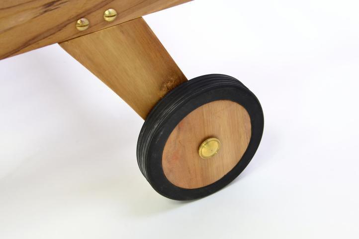 DIVERO zahradní lehátko z týkového dřeva s kolečky