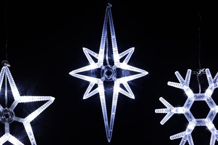 Vánoční dekorace na okno - 3 ks, LED