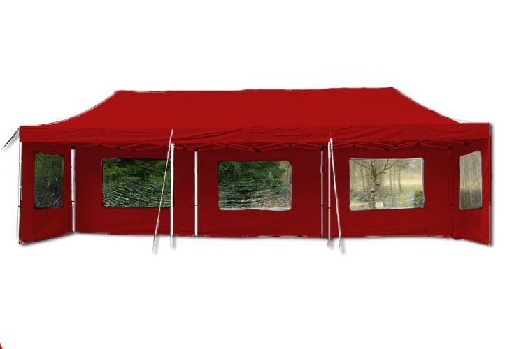 Zahradní skládací párty stan PROFI – červená 3 x 9 m