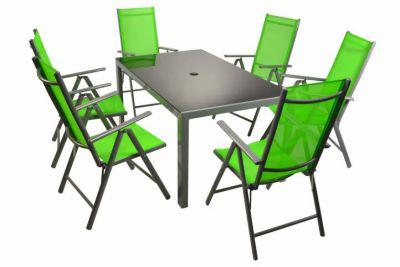 Moderní sada zahradního nábytku Garth 7 ks - zelená