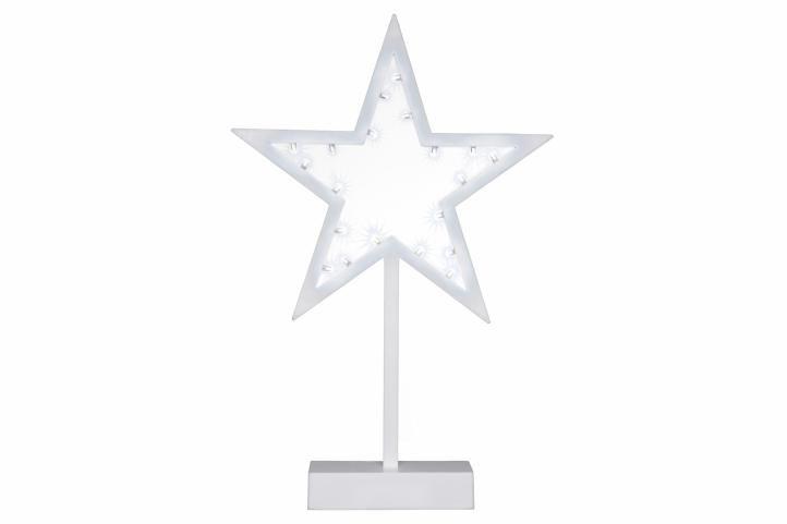 Vánoční dekorace - hvězda na stojánku, 38 cm, 20 LED