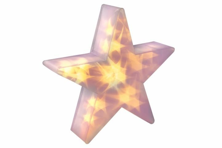 Vánoční hvězda s 3D efektem - 35 cm, 20 LED, teple bílá